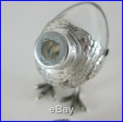 Antique Vintage Italian Solid 800 Silver Crystal Salt Pepper Shaker Figural Bird
