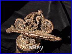 Antique W. B. Mfg Co. Motorcycle Rolando Hill Climb Trophy, E. Thompson 1934 SCMC