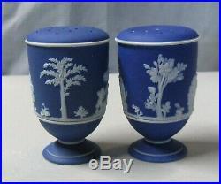 Antique Wedgwood Dark Blue Jasperware Salt and Pepper Shakers