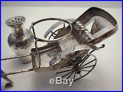 Antique c1900 Chinese Export Solid Silver Salt Pepper Pot Shaker RICKSHAW CRUET