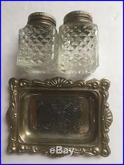 Antique/vintage Silverplated Salt & Pepper Shaker Set In Box Made In Hong Kong