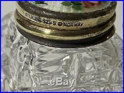 Art Deco Norwegian Hroar Prydz Sterling Silver, Guilloche Enamel Salt & Pepper