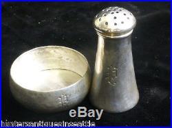 Arts & Crafts Style Lebolt Sterling Hand Hammered Design Salt & Pepper Shaker