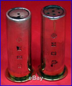 Asprey Vintage Sterling Silver Shotgun Shell(s) Salt & Pepper Shakers