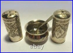 Authentic Set Of Russian/Persian Silver 84 Pepper Salt Shakers, Salt Cellar, Spoon