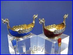 Beautiful Theodor Olsen Viking Longboat Norwegian Silver & Enamel Salts & Spoons