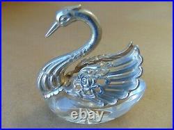 Beautiful Vintage Sterling Silver Glass Swan Salt London Imported 1969