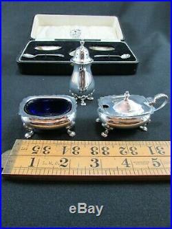 Boxed Solid Silver Three Piece Cruet Set Birmingham 1927