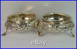 C1860 Victorian Sterling Silver Three Footed Salt Cellars