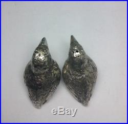 C1890 Victorian 800 Sterling Silver SPARROW Bird Salt & Pepper Shaker Set M9