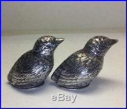 C1890 Victorian 935 Sterling Silver SPARROW Bird Salt & Pepper Shaker Set M14