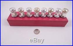 Cartier Sterling Silver Set 8 Salt & Pepper Shakers In Original Box Gold Tops