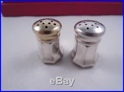 Cartier Sterling Silver Set 8 Salt & Pepper Shakers Gilt Tops Boxed Beauty