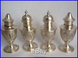 Cased Antique Set Of 4 Solid Silver Salt & Pepper Shakers, Cruet W&H 1908