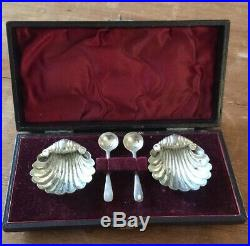 Cased Pair Of Solid Silver Shell Salts + Matching Spoons Birmingham 1898. A777