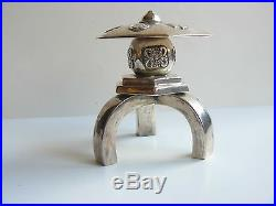 China Chinese Sterling Silver Umbrella Salt & Pepper Shaker Maker Unknown 1900s
