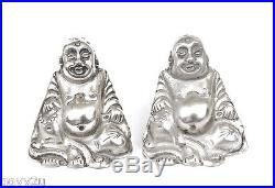 Chinese Export Silver Buddha Bodi Salt & Pepper Shakers Figure Figurine
