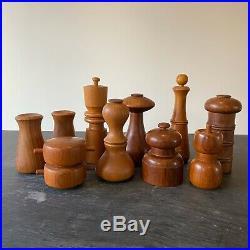 Collection of 10 Dansk Danish Teak Pepper Mill Salt Shaker Jen Quistgaard 1960s