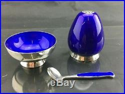 DANISH Silver CRUET SET Anton Michelson c1960 Copehagen Stunning Blue
