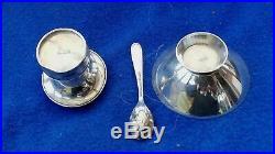 Danish 925 silver Guilloche Enamel Salt Pepper Spoon toadstool