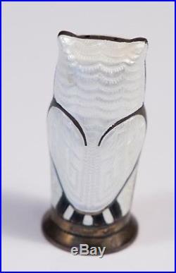 David Andersen Enameled Sterling Silver Owl Salt and Pepper Shakers Norway