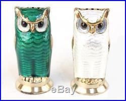David Andersen Norway Green & White Enamel & Sterling Owl Salt & Pepper Shakers
