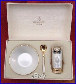 David Andersen Norway Sterling Enamel 3pc Salt, Spoon, OWL Pepper, Boxed Set