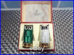 David Andersen Norway Sterling Guilloche Enameled Owl Salt Pepper Shakers Box