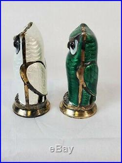 David Anderson Norway Sterling & Enamel Owl Salt And Pepper Green & White