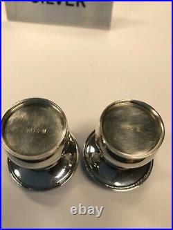 Denmark Sterling Silver Guilloche Blue Enamel Mushroom Salt and Pepper Shaker