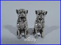 Dominick & Haff Salt & Pepper Shakers Pug Dog Dogs American Sterling Silver