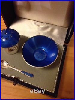Ela Denmark Sterling Enamel Box Open Salt Pepper Shaker Set Blue Spoon Mashroom