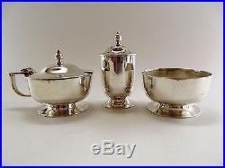 Elegant Three Piece Silver Condiment Set Birmingham 1943 Ref 1142