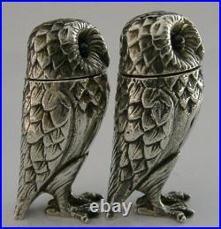ENGLISH HEAVY SOLID STERLING SILVER OWL SALT & PEPPER POTS CRUET 1992 114g