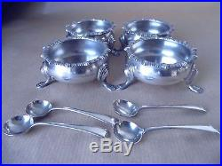 Excellent Large Edwardian Sterling Silver Salt Pots 1902, Boxed
