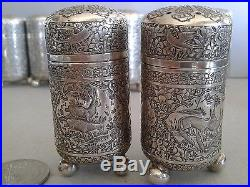 Exceptional Set Of Antique Persian Figural Silver Salt And Pepper