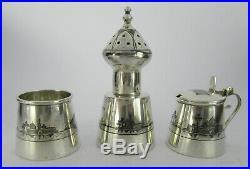 Early 20th C Iraqi Marsh Arab Niello Silver Cruet Set On Tray Buildings, Boats