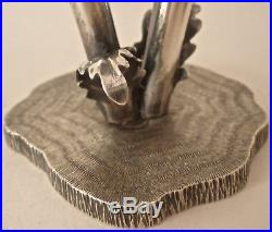 Early Mario Buccellati Sterling Figural Poppy Salt Pepper Shakers & Log Base