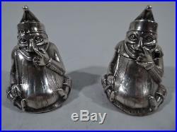 Edwardian Salt Shaker & Mustard Pot Punch Pair English Sterling Silver