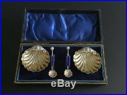 Edwardian Solid Silver Gilt Clam Shell Open Salts Matching Spoons W H Leather