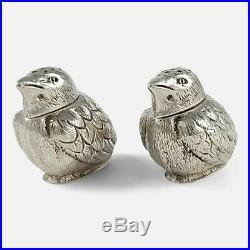 Edwardian Sterling Silver Novelty Chick Pepper Pots Charles & George Asprey 1904