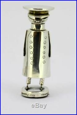 Edwardian novelty Chauffeur salt/pepper holder with miniature spoon