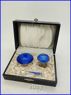 Ela Denmark Sterling Silver 925 Enamel Salt Dish Mushroom pepper Cobalt Blue