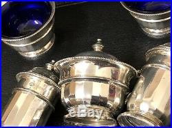 Elegant Art Deco solid silver condiment set boxed hallmarked Adie Brothers Birm