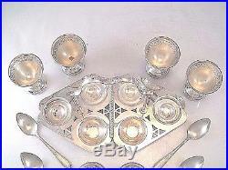English Egg Set For 4 People Silver Plate Cups Holder Salt Pepper Shaker Spoons
