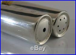 English Solid Silver Shotgun Shell Case Salt & Pepper Pots Hunting Shooting