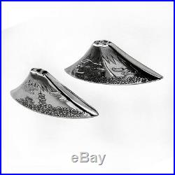 Engraved Mount Fuji Salt Pepper Shakers Japanese 950 Sterling Silver