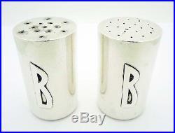 Estate ALLAN ADLER Pair of Modernist Salt & Pepper Shakers in Sterling Silver