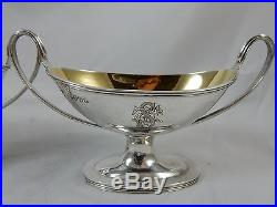 FINE pair VICTORIAN silver ` CRESTED` SALTS, 1883, 174gm