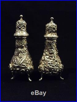 Fabulous Pair Sterling Silver Repousse Salt & Pepper Shakers